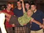 Robin Reiser Abbott having fun with her sister's four boys.  Left to right - Zach (Pam's son), Parker (Jamie's son),