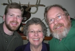 Here's Anita Barney Bartlett (center) with her wonderful husband, Jim (on the right), and son, Dan (on the left). Jim g